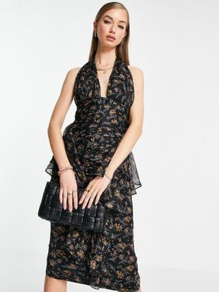 WOMEN button through ruched midi dress with soft ruffle detail in dark based floral print