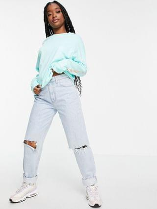 WOMEN Weekend Collective oversized longsleeve t-shirt with back logo in mint