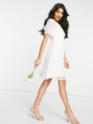 WOMEN Y.A.S Bridal mini dress with shirred top mesh puff sleeve and lace skirt in white