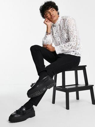 MEN overhead lace shirt with high neck in white
