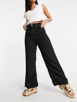 WOMEN Weekday Linear organic cotton wide leg pull on jeans in washed black