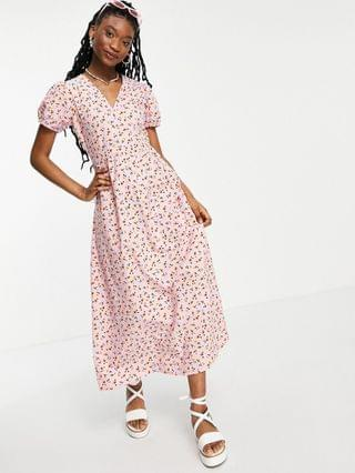 WOMEN Wednesday's Girl maxi dress with puff sleeves and full skirt in pretty floral