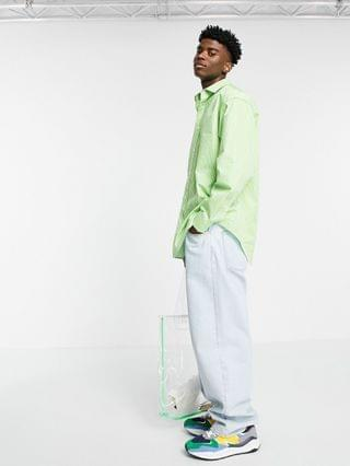extreme oversized stripe shirt in lime green