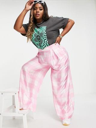 WOMEN Twisted Wunder Plus wide leg pants in pink oversized plaid - part of a set