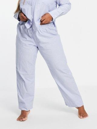 WOMEN Curve mix & match traditional cotton stripe pajama pants in blue & white