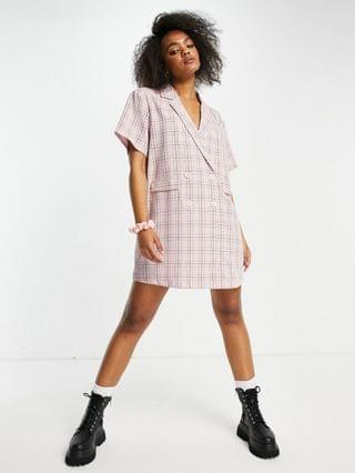 WOMEN Lola May double breasted blazer dress in pink check