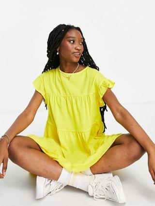 WOMEN frill sleeve tiered smock dress in bright yellow