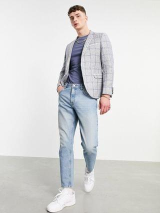 Twisted Tailor linen suit jacket with double piping in gray blue check