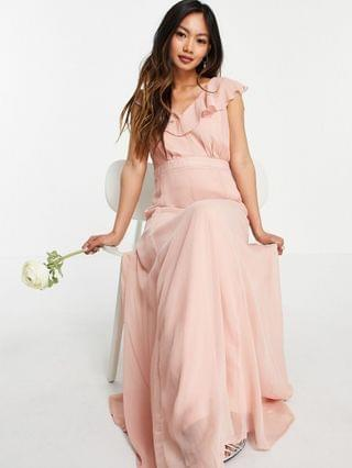 WOMEN Vila Bridesmaid maxi dress with frill detail in pink