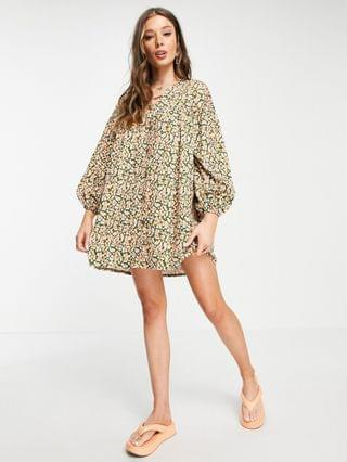WOMEN button through mini smock dress with long sleeves in green and pink floral