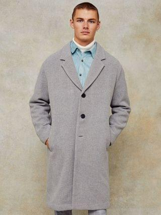 Topman dropped shoulder coat with wool in gray