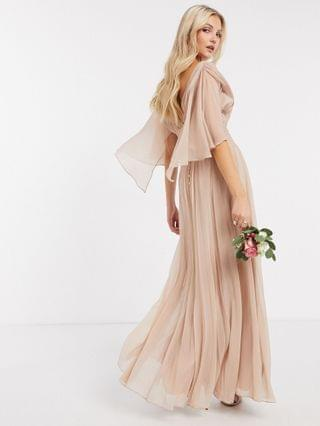 WOMEN Bridesmaid ruched bodice drape maxi dress with wrap waist and flutter cape sleeve in blush