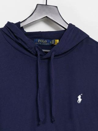 Polo Ralph Lauren back and arm logo hooded long sleeve top in navy