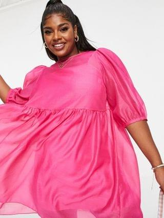 WOMEN Collective the Label Curve puff sleeve mini smock dress in pink