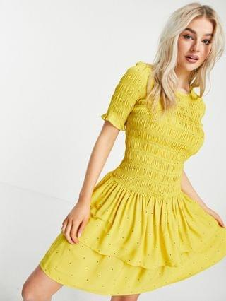 WOMEN Y.A.S Petite mini dress with shirred top and tiered skirt in yellow spot print