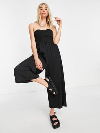 WOMEN tall textured bandeau jumpsuit in black
