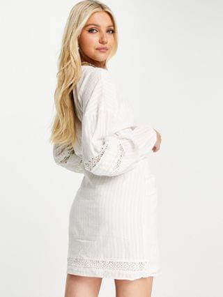 WOMEN casual pintuck wrap mini dress with lace trims in self stripe in white