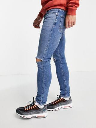 MEN skinny jeans with 'less thirsty' wash in mid blue with knee rips