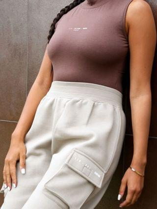 WOMEN Public Desire x Amber Gill pocket detail cuffed cargo pant in taupe