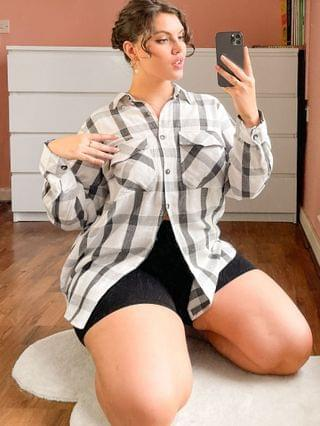 WOMEN New Look Curve check shirt in black