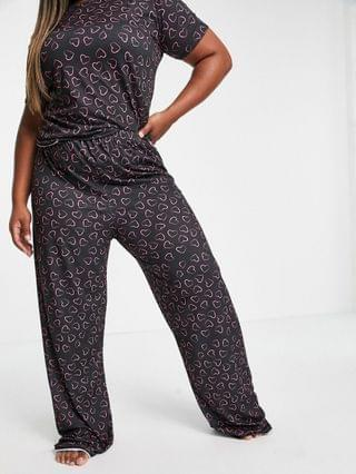 WOMEN I Saw It First Plus heart T-shirt and pants pajama set in black multi