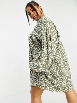 WOMEN Curve button through mini smock dress with long sleeves in sage floral print