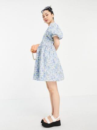 WOMEN Vila mini smock dress with puff sleeves in blue floral print