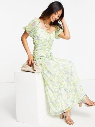 WOMEN ruched puff sleeve maxi dress in a white base with yellow and blue floral print