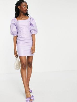 WOMEN Collective the Label oversized sleeve PU mini dress in lilac