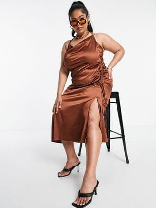 WOMEN Public Desire Curve x Amber Gill satin strappy cami midi dress with ruched side detail in chocolate