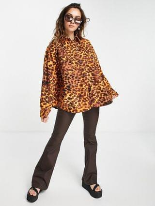 WOMEN Native Youth oversized shacket in bright leopard print