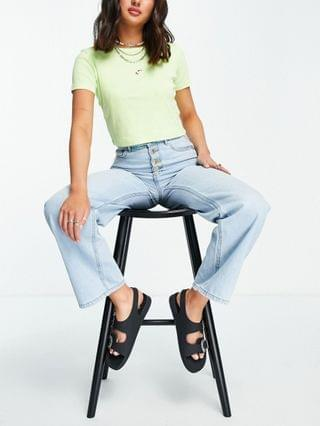 WOMEN Only Molly wide leg jeans with exposed buttons in light blue