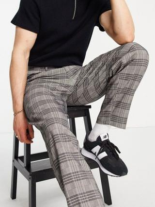 New Look tapered smart pants in dark gray check