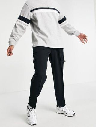 oversized tapered cargo pant in black