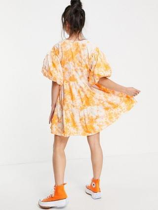 WOMEN COLLUSION broderie mini wrap dress in acid wash in white and orange