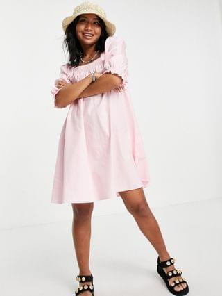 WOMEN New Look Petite square neck shirred back mini dress in mid pink