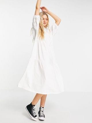 WOMEN midi dress with gathered neck and embroidered cut out detail and tiered hem in white