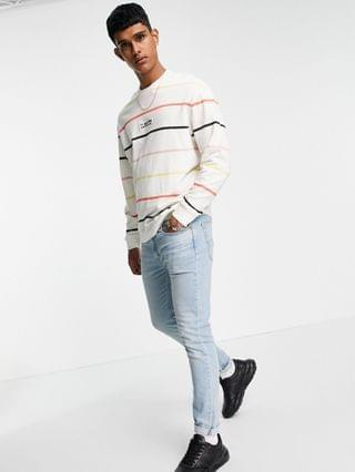 TEST LEVI Levi's relaxed fit central logo lightweight sweatshirt in lappool stripe marshmallow white