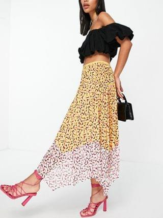 WOMEN French Connection Ezeke pleated midi skirt in multi