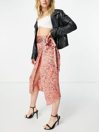 WOMEN Never Fully Dressed wrap midi skirt set in coral leopard print