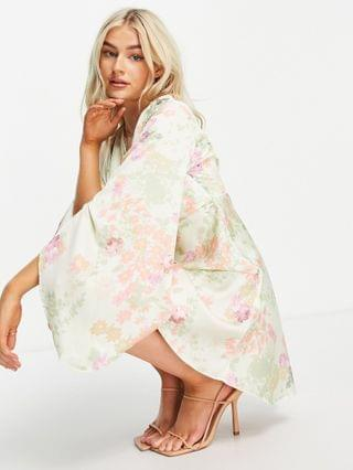 WOMEN Petite cape sleeve satin mini dress with knot front in floral print
