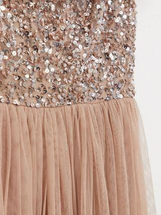 WOMEN Maya Bridesmaid bardot maxi tulle dress with tonal delicate sequins in taupe blush