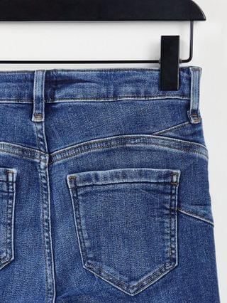 WOMEN River Island Petite ripped raw hem high rise skinny jeans in mid auth blue