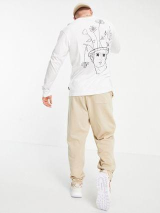 Only & Sons long sleeve t-shirt with Venus head back print in white