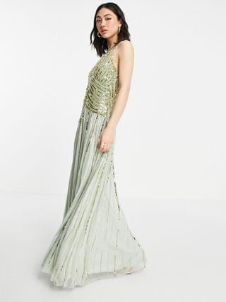 WOMEN linear embellished maxi dress with sheer skirt in multi