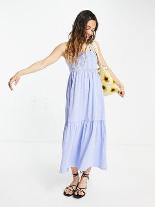 WOMEN Only Exclusive maxi dress with lace detail in blue