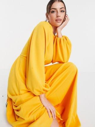 WOMEN maxi prom dress with puff sleeves in marigold