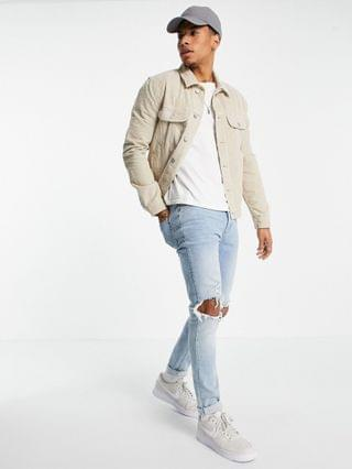 regular fit western cord jacket in stone