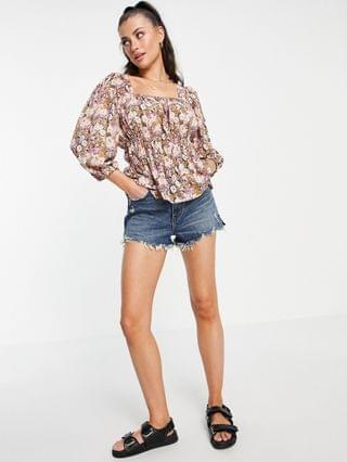 WOMEN Vila blouse with elasticated waist in floral print