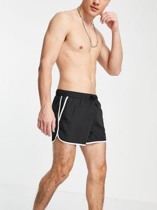 runner swim shorts in black with contrast white piping